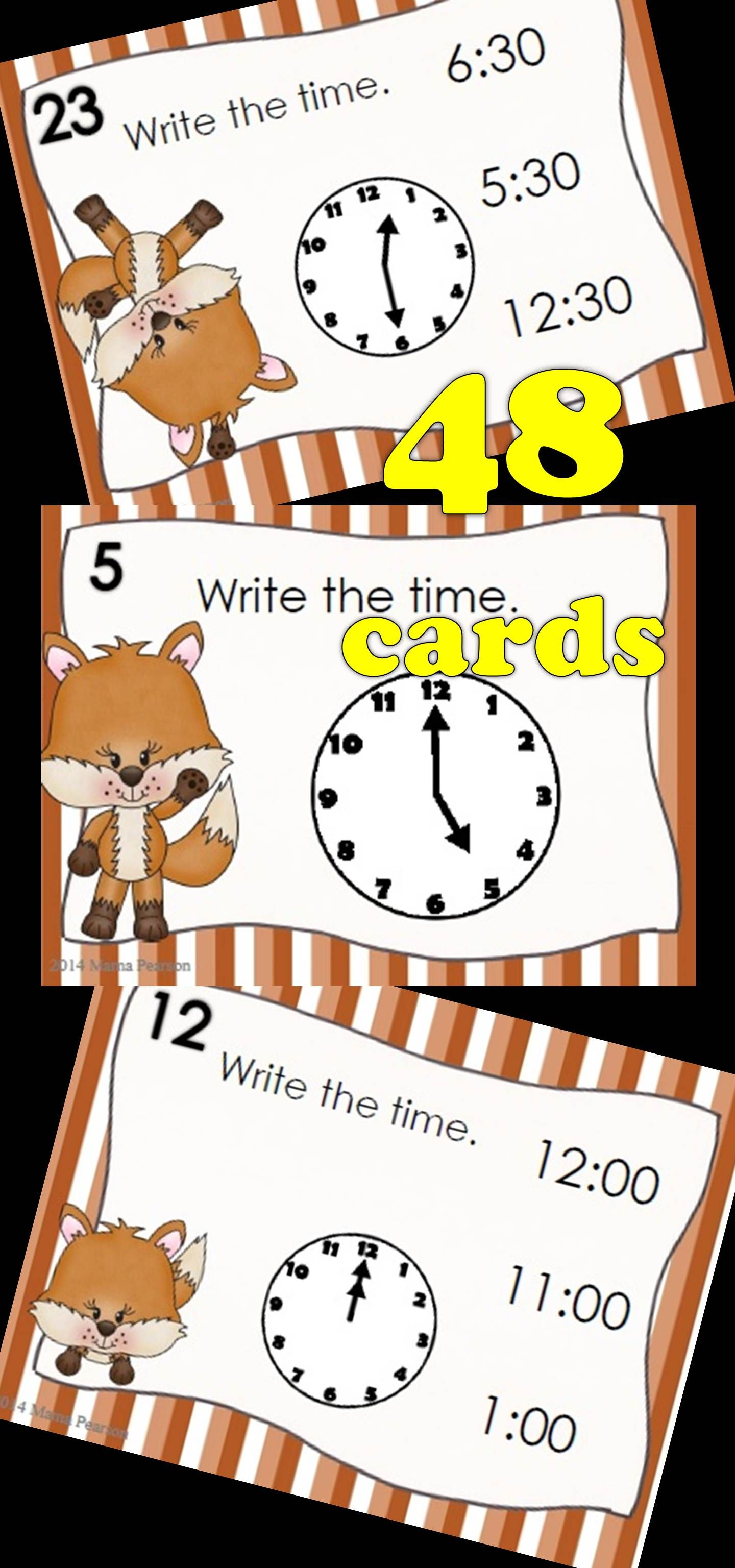 Digital And Printable Foxy Time To The Hour And Half Hour