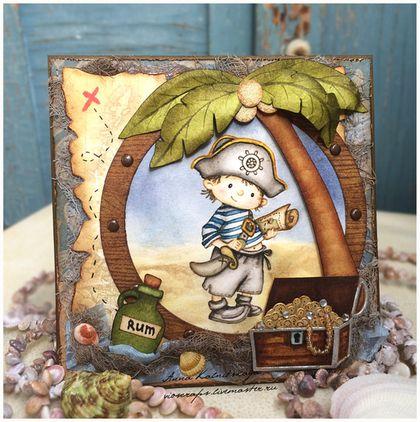 Забавная открытка для маленького пирата для любого события. Все элементы открытки выполнены вручную. Изображение пирата раскрашено чернилами...