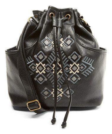 Look at this #zulilyfind! Black Embroidered Drawstring Bucket Bag #zulilyfinds