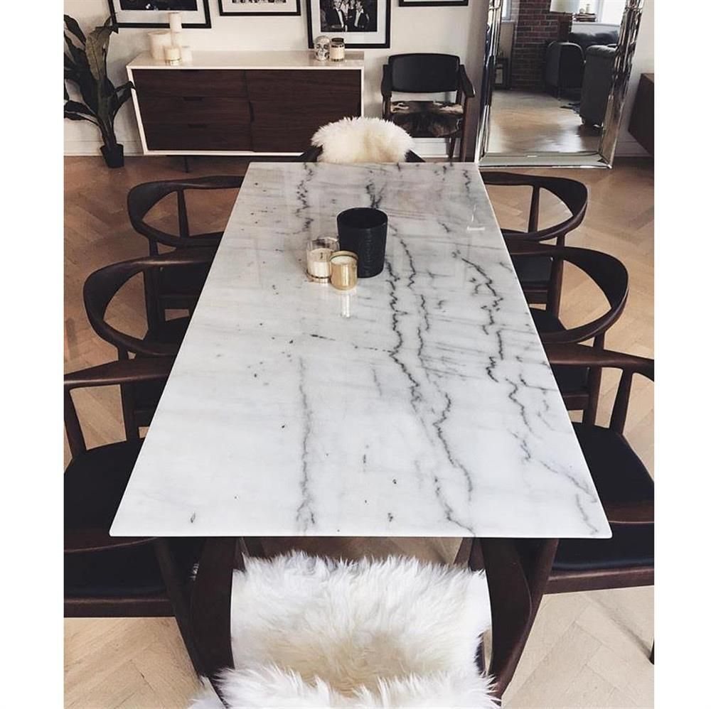 Corra Modern White Marble Brushed Steel Dining Table Kathy Kuo Home Marble Dining Dining Table Marble Dining Room Table Marble