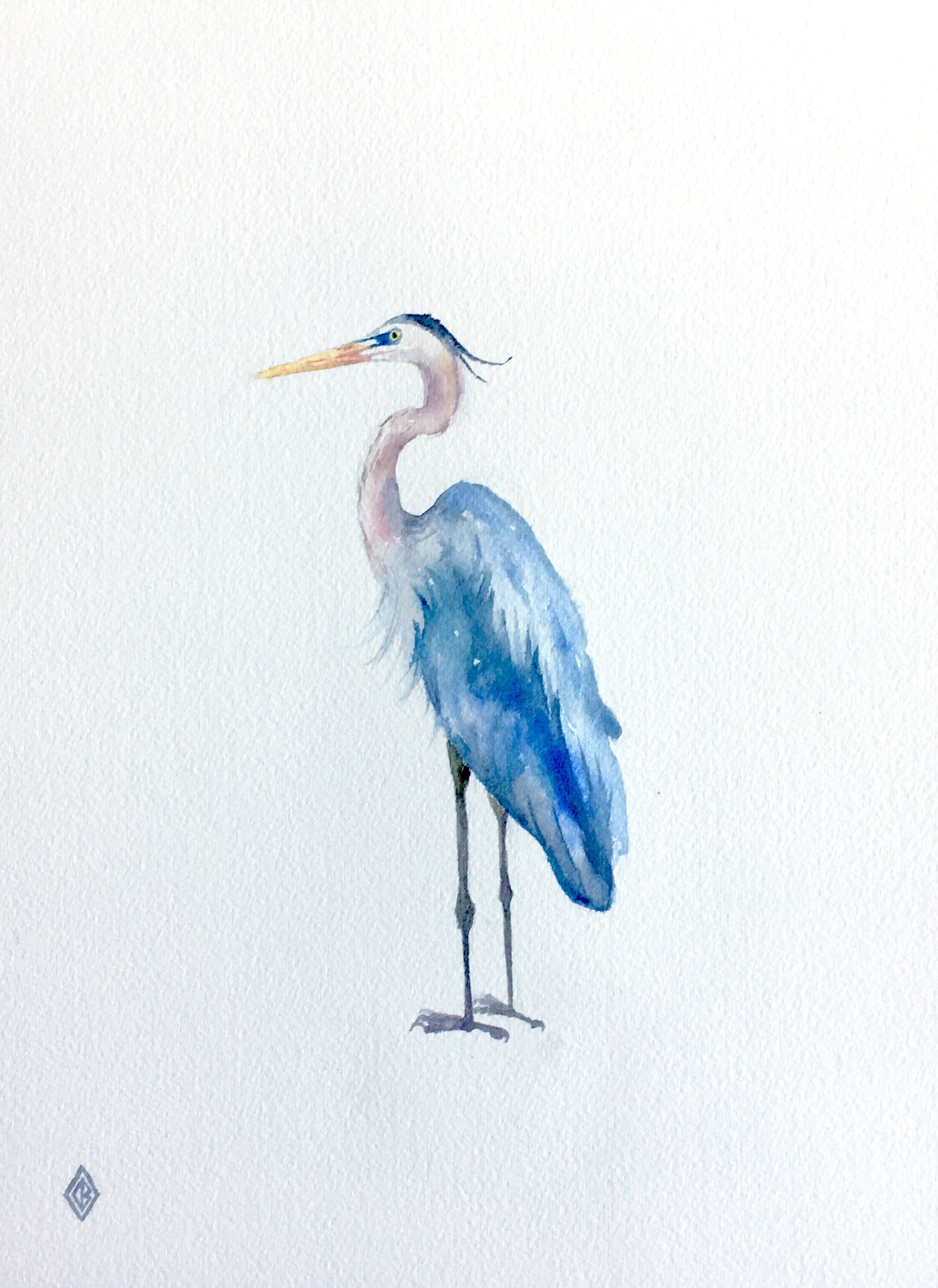 Great Blue Heron 9x12 Inch Original Watercolor Painting Nature