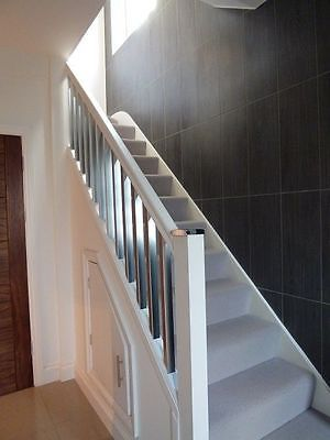 Best Details About Scala Brushed Chrome White Painted Staircase Landing Stairparts Kit In 400 x 300