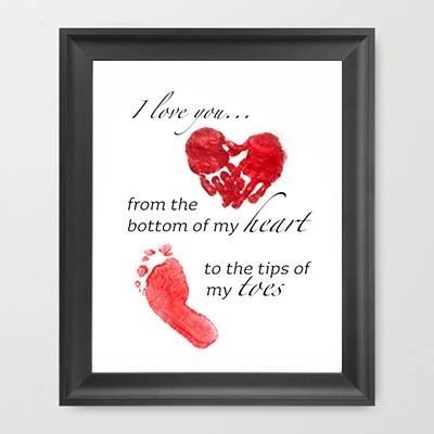 Mother's Day instant I love you..from the bottom of my heart to the tip of my toes print -add handprint/footprint
