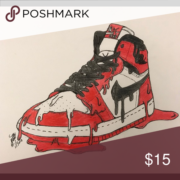 Air Jordan Chicago 1s Art    Must Ask for Frame    Air Jordan Chicago 1s  Art  Art Done by Me   One of a kind (Signed and Dated) I can do custom  Portraits ... 0a9eb2bfd016
