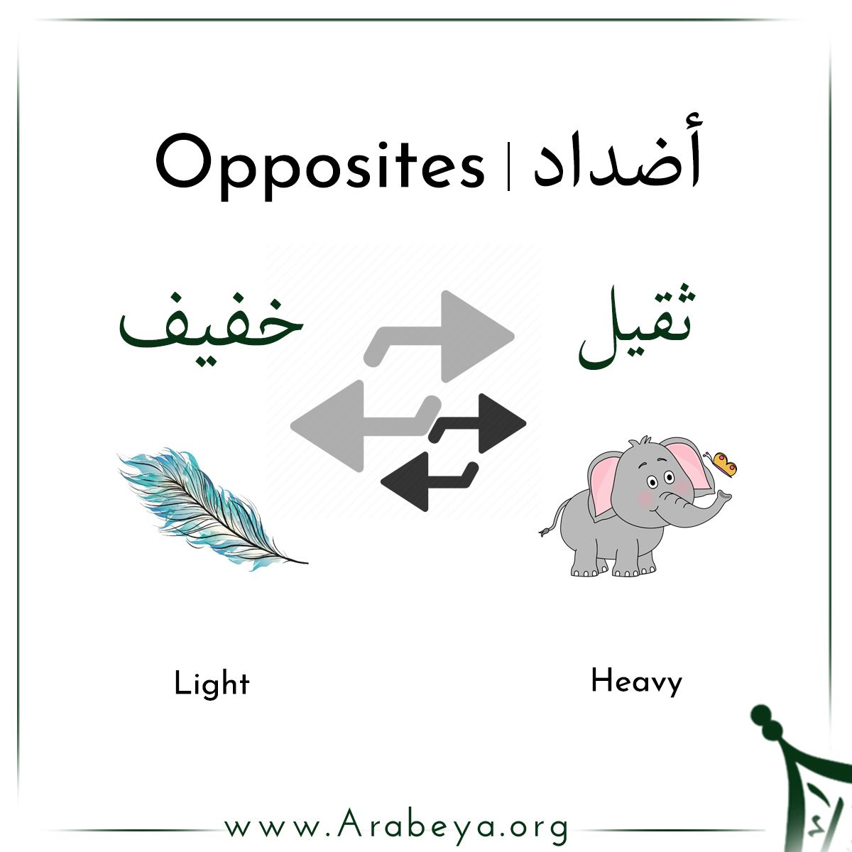 Some of the opposites in Modern Standard Arabic ️⬅️ #