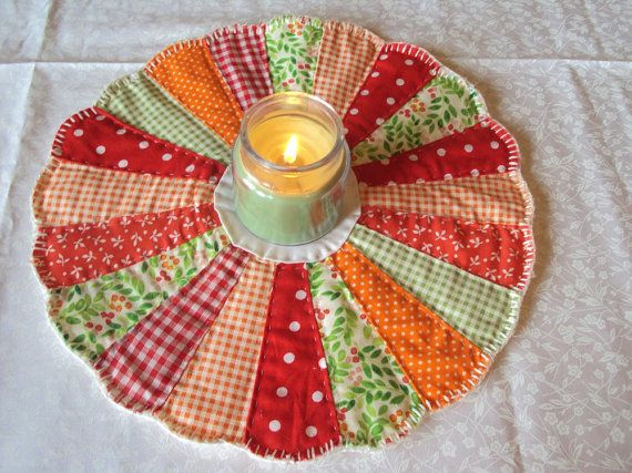 Cute Dresden Plate Candle Mat Placemat Coaster Bright