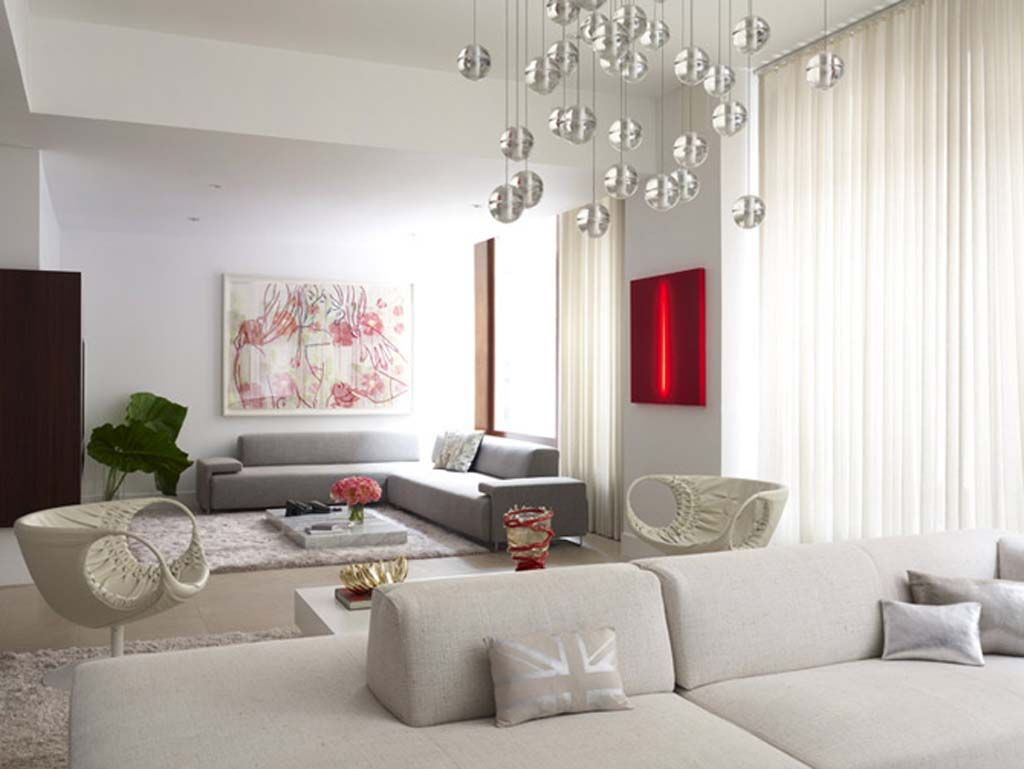 apartments contemporary and chic white licing room with spacious ...