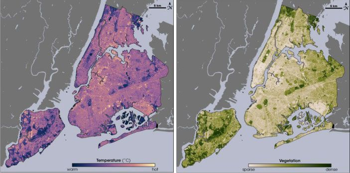 nyc regional heat island initiative heat map shows that plants help keep us cooler areas