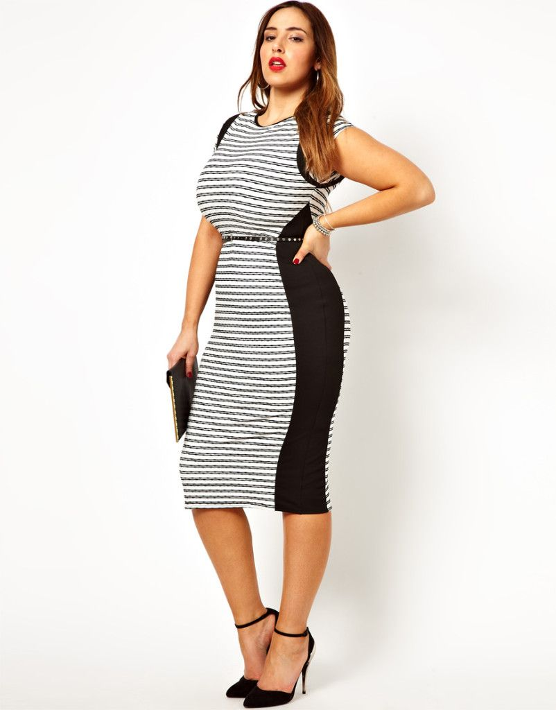 black and white midi dress for plus size | midi dresses