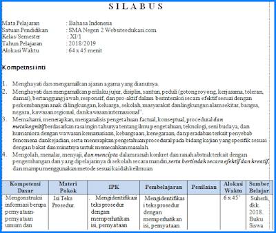 Silabus Bahasa Indonesia Kelas 11 K13 Revisi 2018 Bahasa Bahasa Indonesia Indonesia
