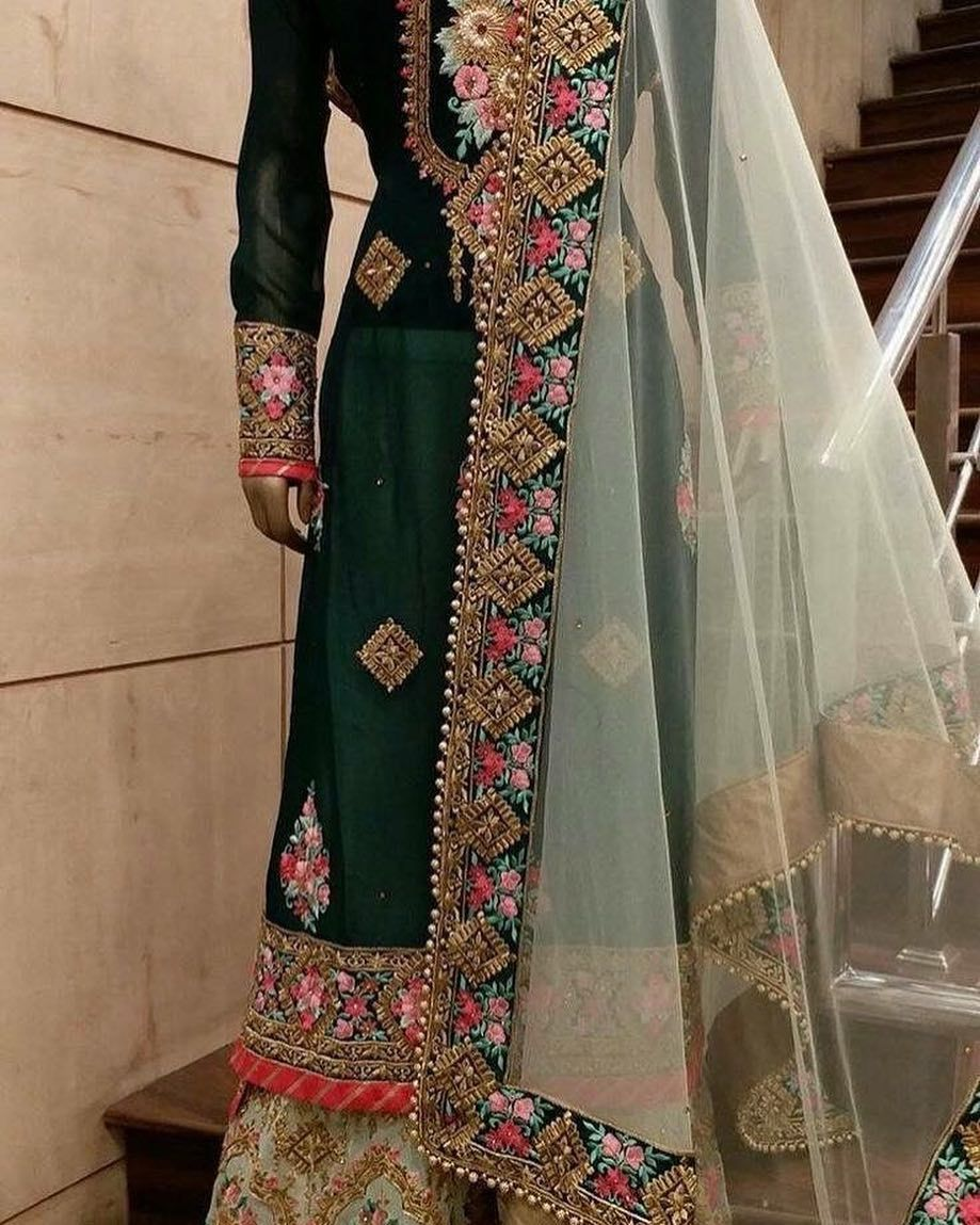 Totally Heavy Hand Embroidery With Organza Dupatta Beautiful