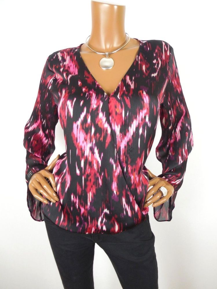 eca31c6368c88f VINCE CAMUTO Womens Top M Holiday Shirt Hi/Low Hem Red Print Long Sleeve  Casual #VinceCamuto #Blouse #Casual