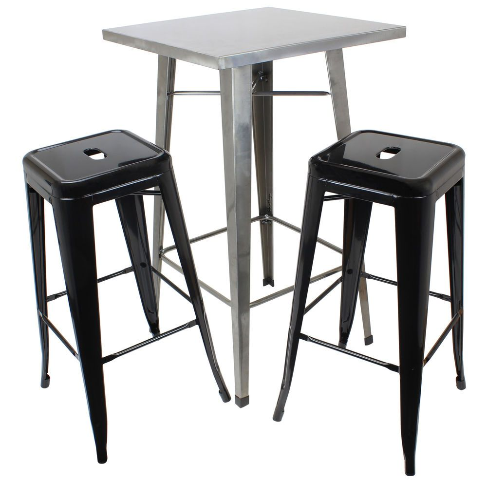 Hartleys gunmetal industrial square top bistro table & 2 black ...