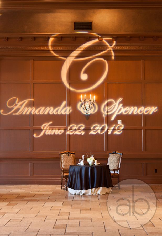Name in lights, projection above sweetheart table | villasiena.cc ...