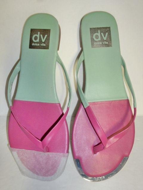86771e2ae4e DV DOLCE VITA Womens Diana Pink Green Leather Flip Flops Thong Sandals 6.5  NEW  DolceVita  FlipFlops  Beach