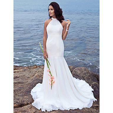 Trompeta / Sirena Halter Larga Raso Vestidos de novia personalizados ...