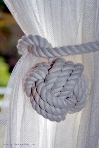Nautical Knot Curtain Tiebacks Seaside Style White Monkey Fist Set
