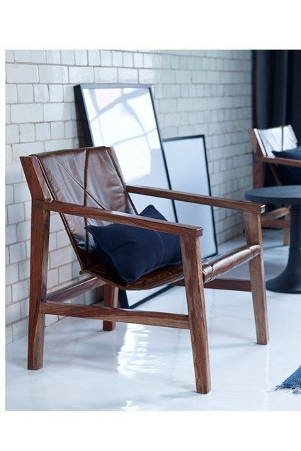 Genial Wooden Frame Chair   Leather Sling Back Seat With Stitch Detail