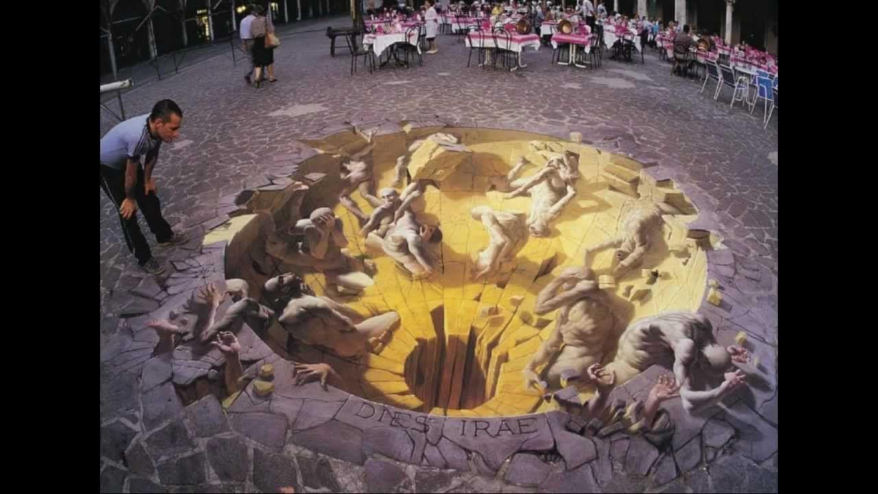 Optical Illusion Sidewalk Art