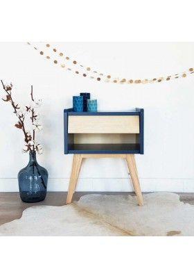Table De Chevet Design Scandinave Basile Bleu Indigo Table De Chevet Design Chevet Design Table De Chevet