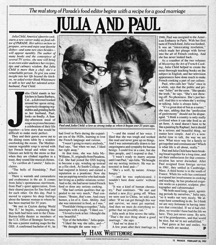 Julia Child's recipe for a good marriage.