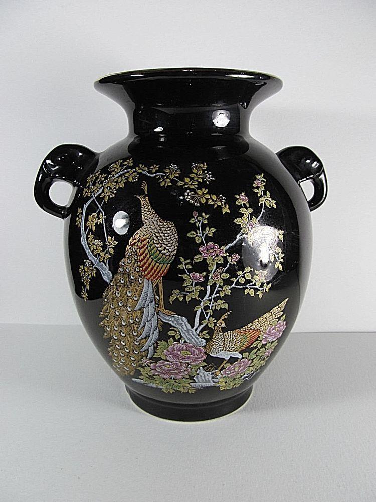 Vintage Black Japanese Peacock Vase Golden Peacocks Pink Flowers