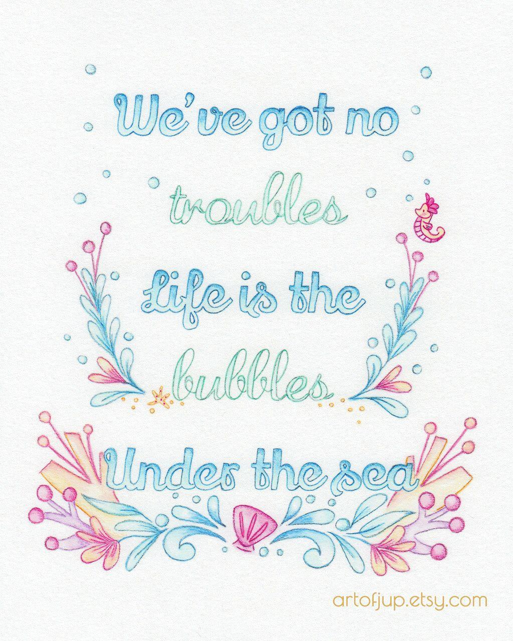 Disney Little mermaid, print, quote, under the sea, home ...