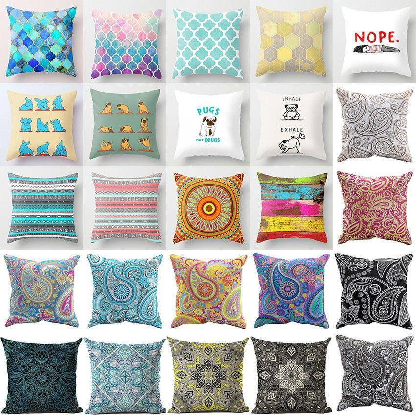 Details About Vintage Bohemia Paisley Cotton Linen Pillow Cover Sofa Cushion Cover Home Decor