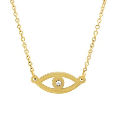 Take a look at this Gold & Cubic Zirconia Evil Eye Pendant Necklace on zulily today!