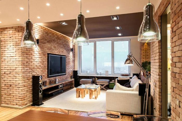 Einrichtungsbeispiele Raumgestaltung Inneneinrichtung Ideen Inneneinrichten  Wohnideen Loft Stil Backstein Ausblick
