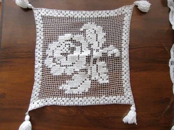 フランスのアンティークレース薔薇のパネルタイプ手刺繍 インテリア 雑貨 家具 Antique lace ¥2100yen 〆04月27日