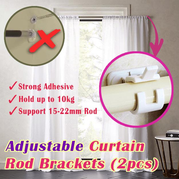 Adjustable Curtain Rod Bracket Holders 2pcs Curtain Rod Brackets Curtain Rods Magnetic Curtain Rods