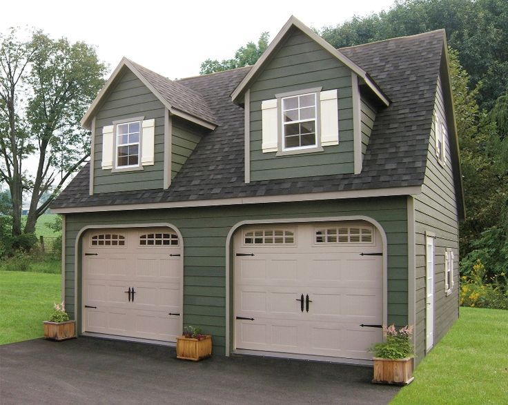 Pitched roof with dormers for 2 story garage modern for 2 car garage with apartment kits