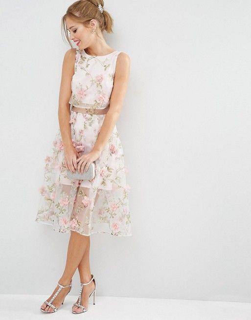 SALON – Midikleit mit kurzem Oberteil und rosa 3D-Blumen | Kleider ...
