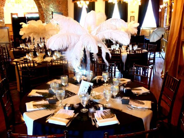 Ostrich Feather Centerpieces Wedding Centerpiece Black White Ivory Reception Dsc020651