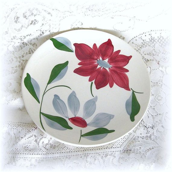 Dinner Plates - 2 Blue Ridge Southern Potteries 9-1/2 Inch Petal Point Plates with Flowers Circa 1940s