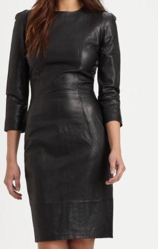 New Genuine soft Lambskin Leather Women Designer party wear Ladies Dress M133