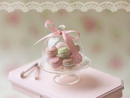 Dollhouse Miniature Food - Sweet Macarons on Glass Display Stand - 1/12