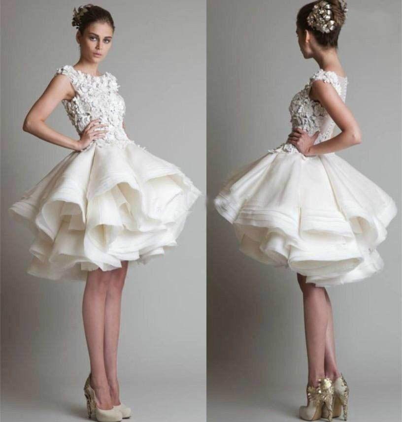 New White Ivory Puffy Skirt Lace Short Wedding Dress Formal Ball