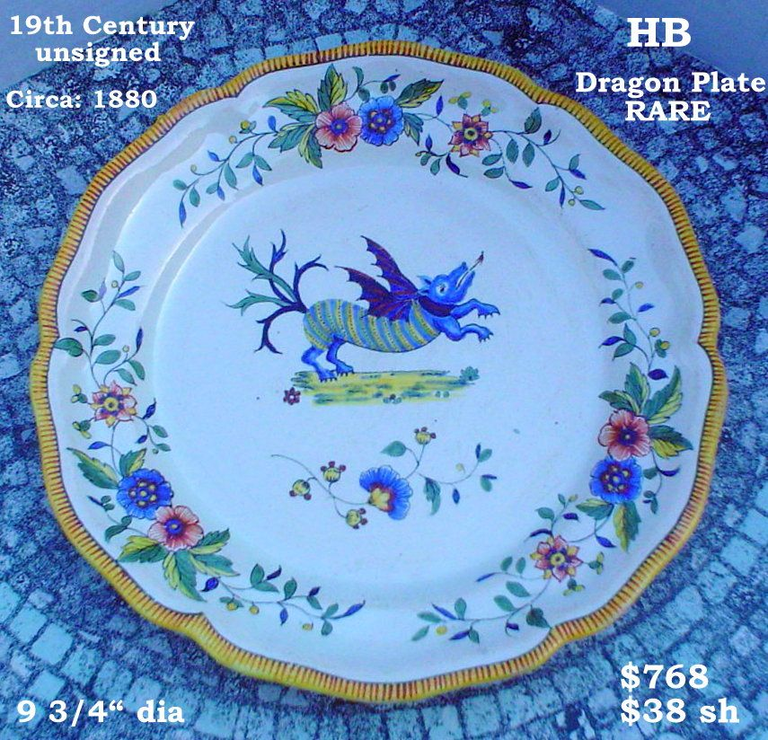 19th Century HB plate from Quimper, France. Flying dragon. Photo courtesy of countryfrenchpottery.com #BRETON #BREIZH