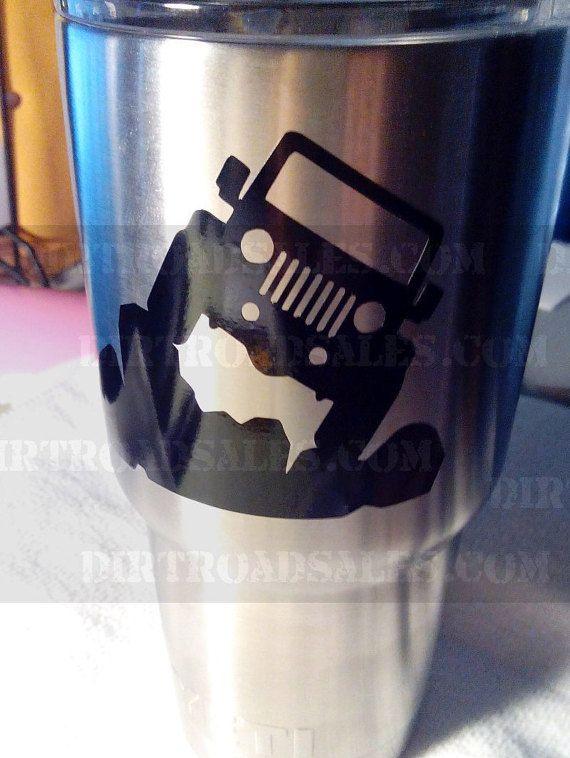 YETI RTIC Oz Oz Oz Oz Tumbler Cup Vinyl Sticker Jeep Rocks - Yeti tumbler stickers
