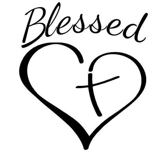 Christian Cross Blessed Heart Vinyl Decal Custom Vinyl - Custom vinyl decals etsy