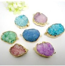 8pcs Wholesale Jewelry Findings Fashion Nature Druzy Crystal stone Quartz Drusy gem stone Connector Druzy Pendant Beads(China (Mainland))