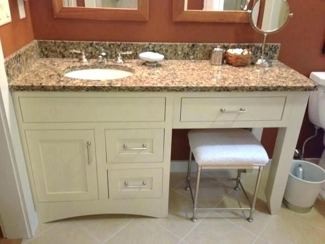 double vanity with makeup station bathroom vanity with