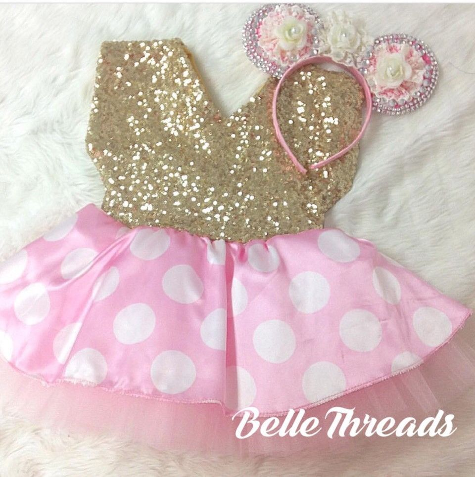 51be5eddb69 Minnie Mouse Gold Glam Pink Satin Polka Dot   White Bow Tutu Dress ...