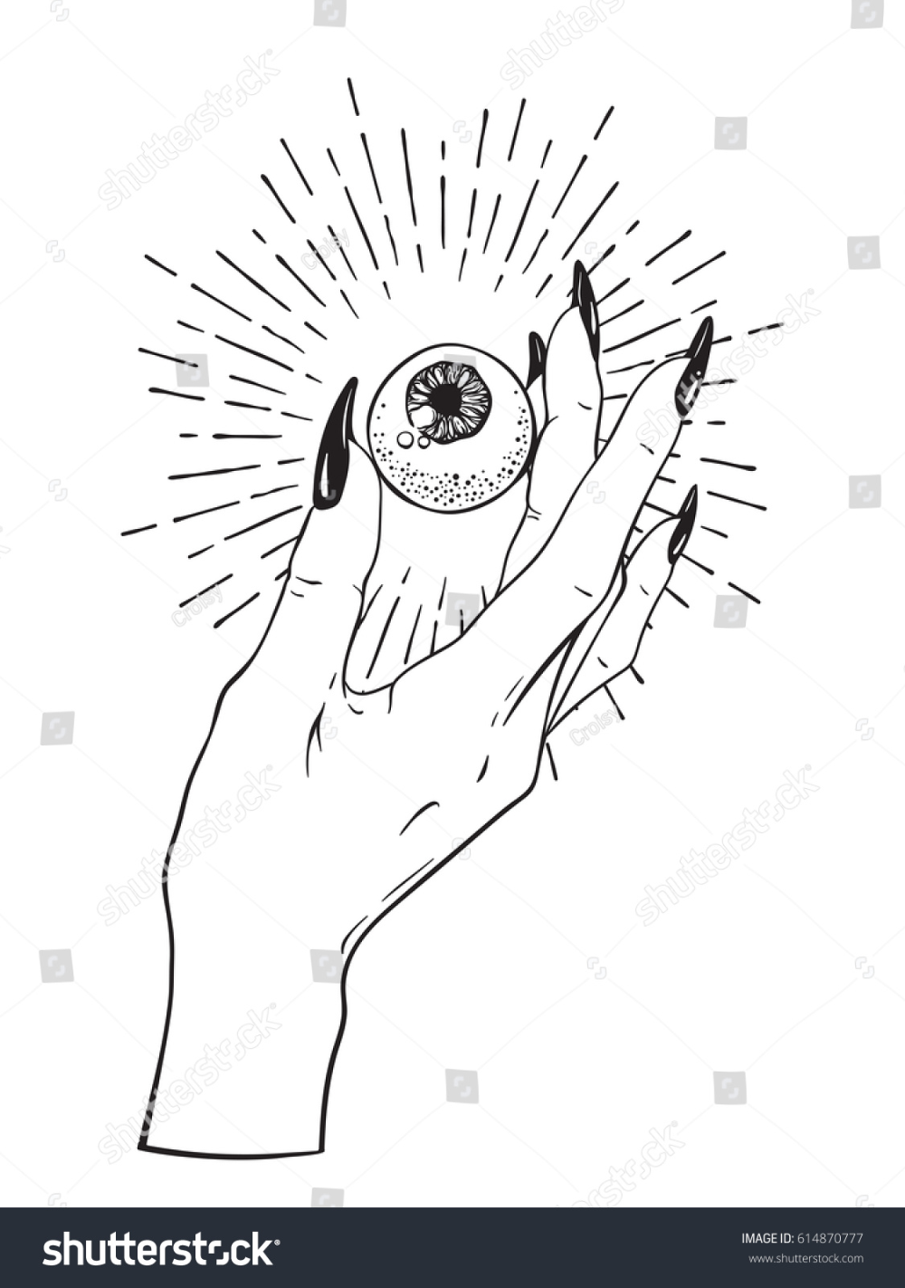 Human Eyeball Female Hand Isolated Sticker Stock Vector