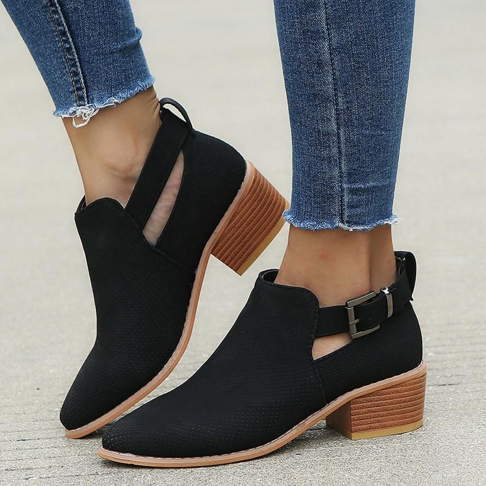 Womens Ankle Boots Low Heel,Comfortable Pointed Toe Buckle Strap Sandles Low-Heeled Holloe Out Shoes Ankle Boots