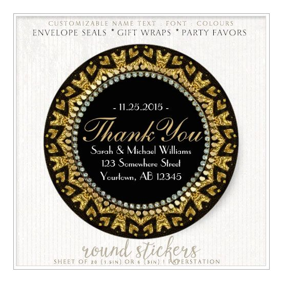 Tribal Heart Deco Gold Black Thank You Stickers Zazzle Com Thank You Stickers Tribal Heart Seal Gifts
