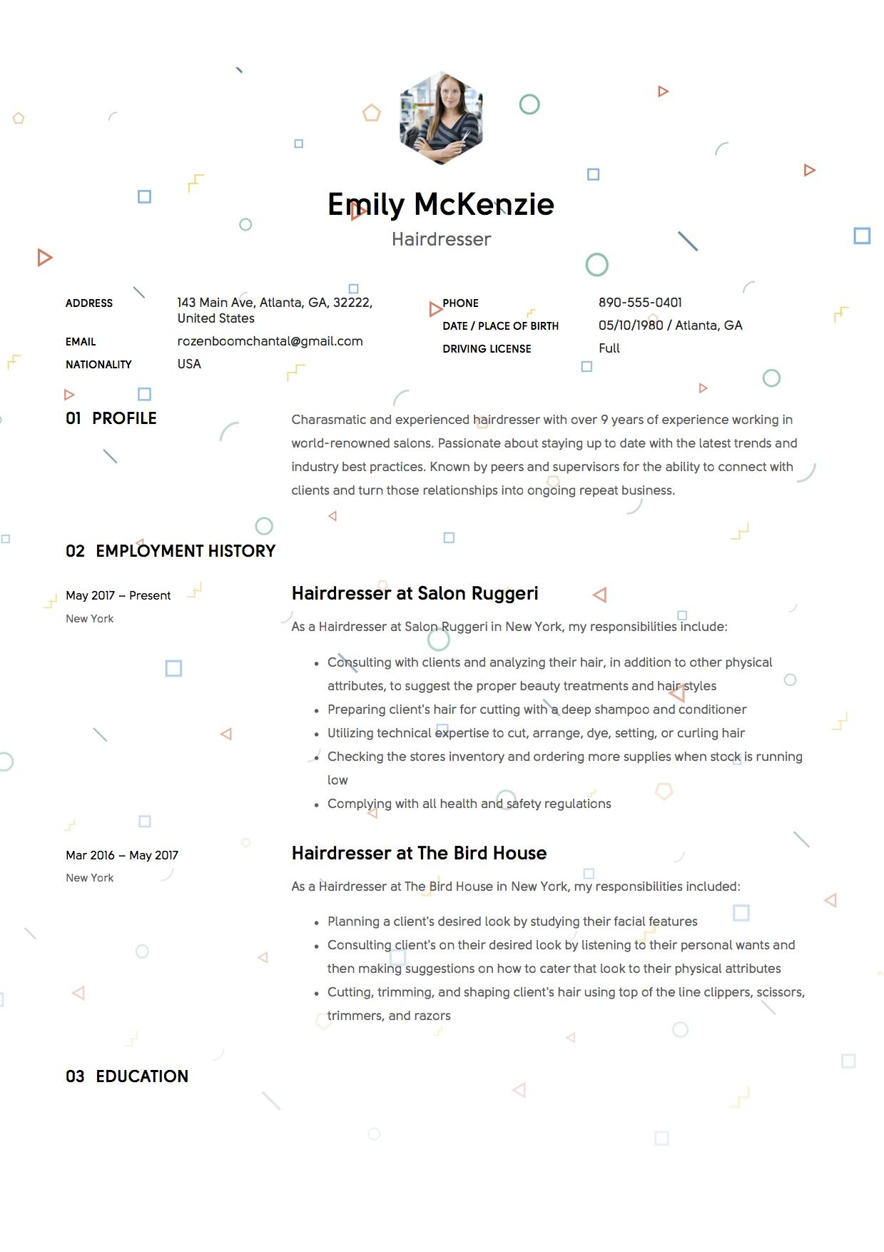Example Of A Cv Hairdresser Resume Sample Example Template Cv Creative Resume .