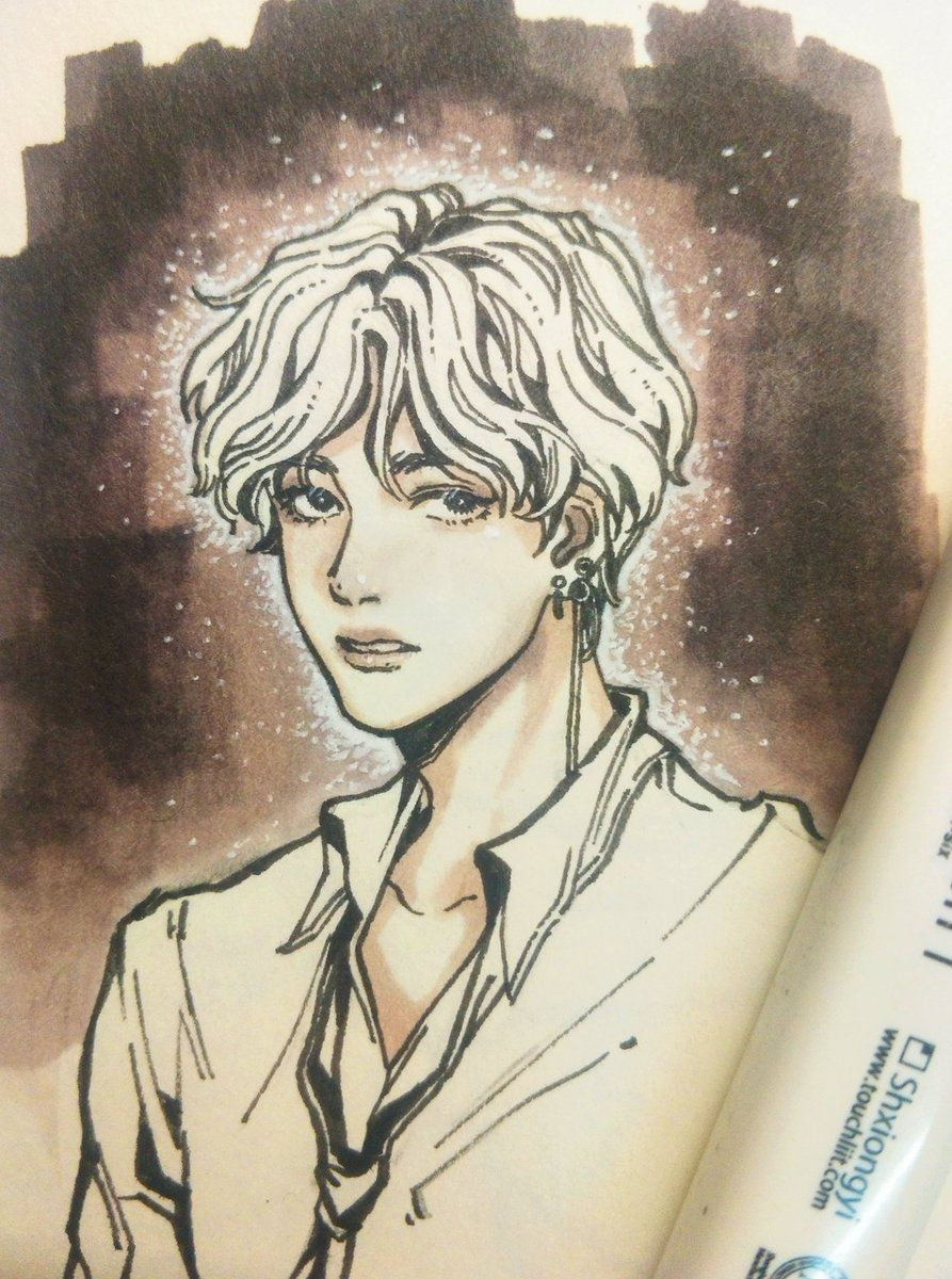 Kim Taehyung V Bts Fanart Credit To The Artist Please Add Their Name If You Know Them Bts Drawings Bts Fanart Drawings